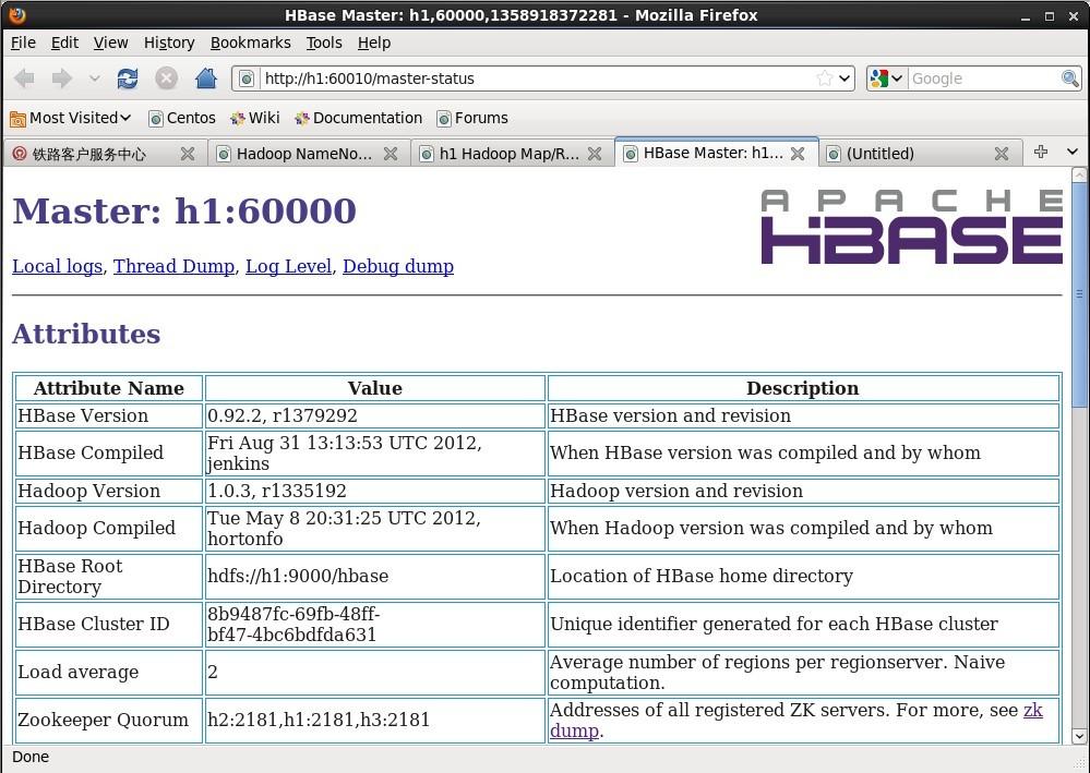 hbase终于装好了 Hadoop分布式数据分析平台